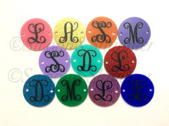 Circular Monogram Disc Beads - choose letter choice- discs for bangle making with 2 holes cut out - 1.25 inches across