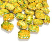 Painted YELLOW Beads with lime spots - Octogon 24x16mm Large faceted acrylic nugget beads for bangle or jewelry making - Swoon & Shimmer - 1