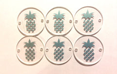 "Silver Pineapple on Clear Discs - Pick your disc color choice - 1.25"" bead - bangle bead jewelry making - Swoon & Shimmer - 1"
