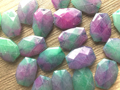 35x24mm Watercolor Pink & Green Slab Nugget Beads - Beads for Bangle Making or Jewelry Making