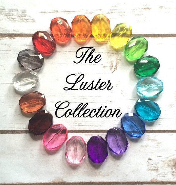 The Luster Collection - Multi Color Faceted 30mm Beads Bangle Necklace Statement Necklace Jewelry translucent big faceted crystal gems