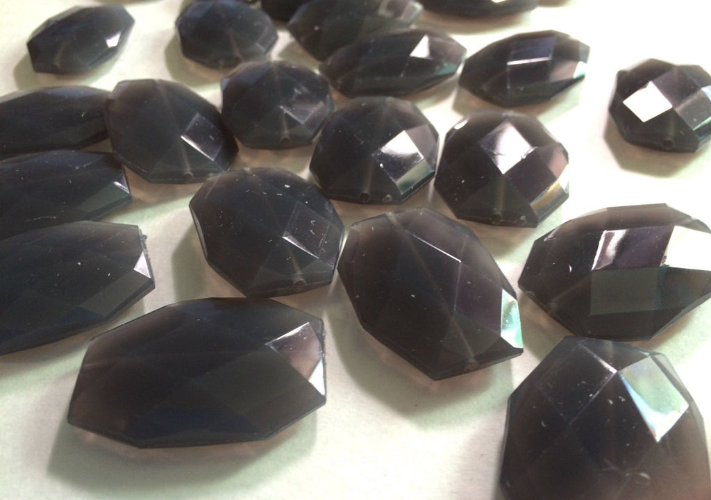 35x24mm Dark Gray Large faceted acrylic nugget beads - Swoon & Shimmer - 1