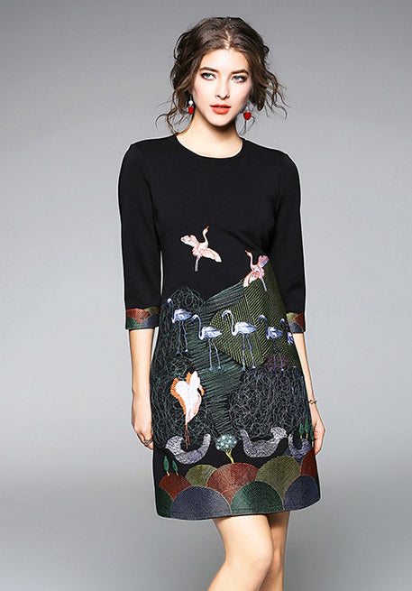 08aa6e093ba Embroidered 3 4 Sleeve Shift Dress - Ferlicious