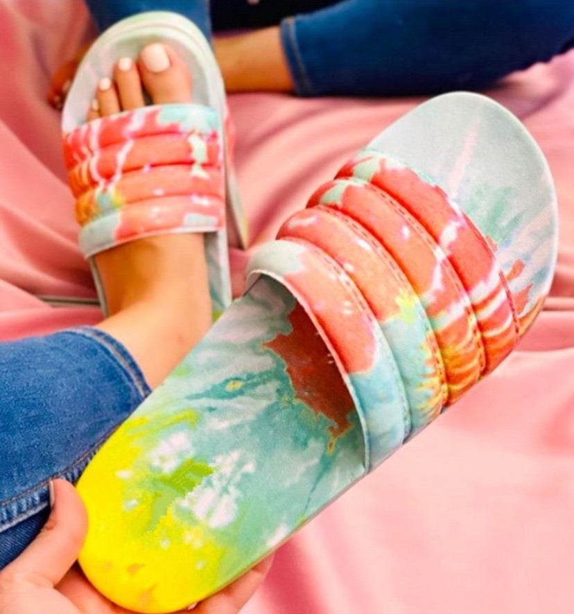Beautiful Minds Inspire Others Tie-Dye Slides