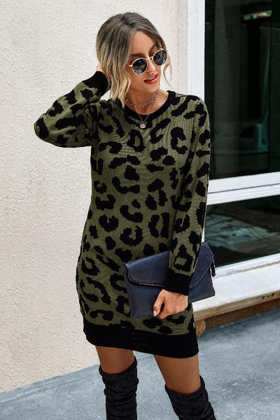 Eat, Drink, & Be Thankful Leopard Sweater Dress