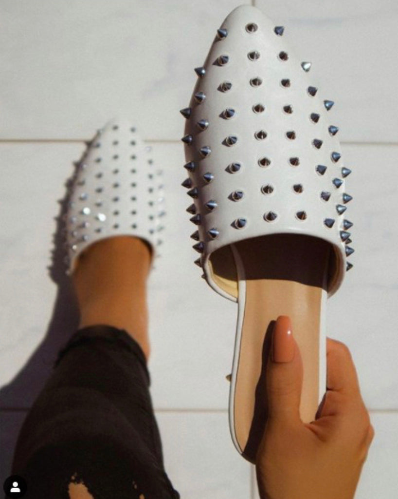 Good Shoes Take You To Good Places Studded Flats