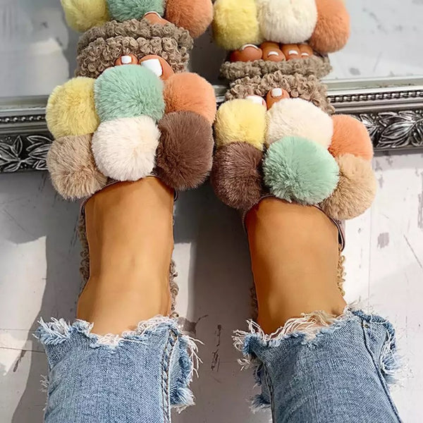 There Is No Beauty Without Color Fuzzy Slippers