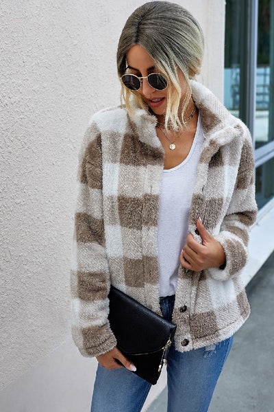 Plaid And Simple Faux Fur Jacket