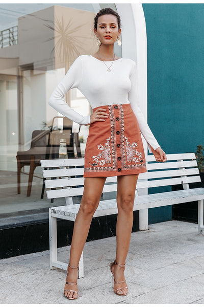 Fallin' For You Embroidered Skirt