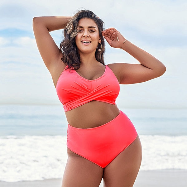 Worry Less And Live More Plus-Size Two-Piece Swimsuit
