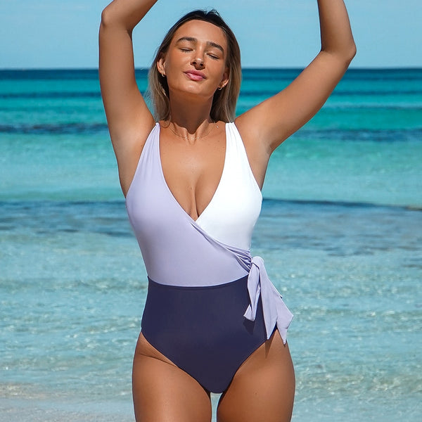 Life Is The Biggest Party You'll Ever Attend Colorblock One-Piece Swimsuit