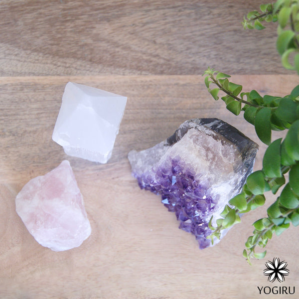 Healing Crystals Amethyst, Selenite and Rose Quartz