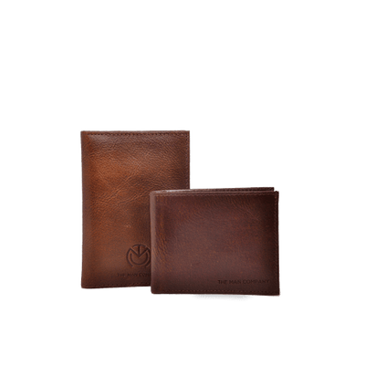 Travel Duo - Brown Leather Passport & Wallet - The Man Company