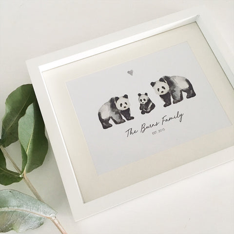 Watercolour Print Panda Family