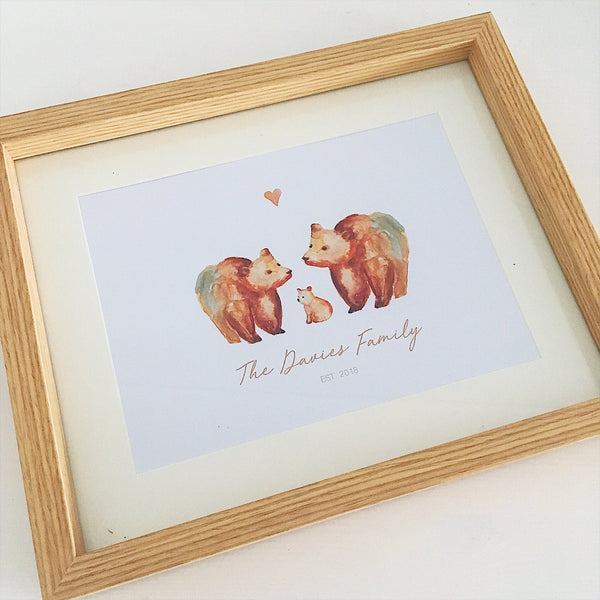 Watercolour Print Bear Family