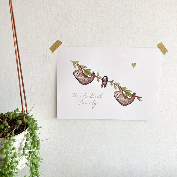 Sloth Personalised Print - Unframed