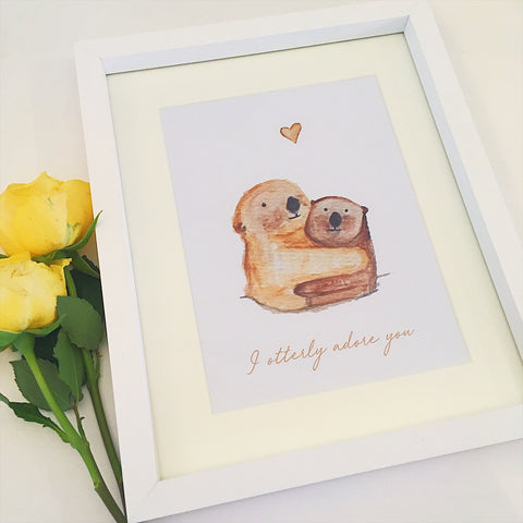 Watercolour Otter Print - Framed