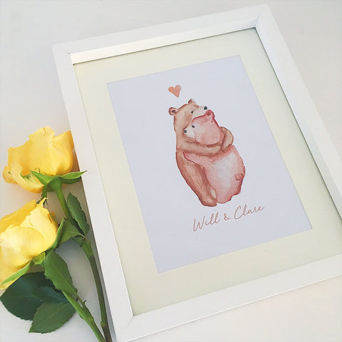 Watercolour Print Bear Hug - Framed