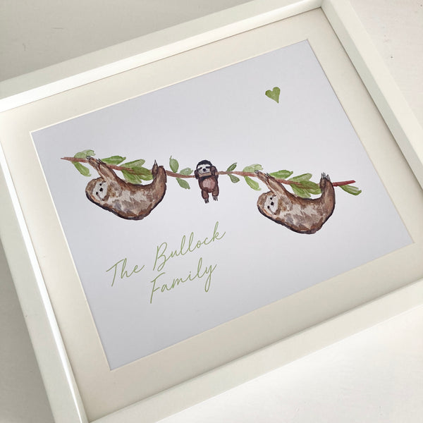 Personalised Sloth Family