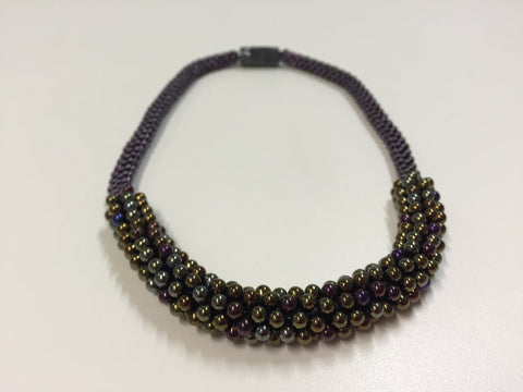 Beautiful hand-crafted necklace - deep bronze with purple & silver highlights