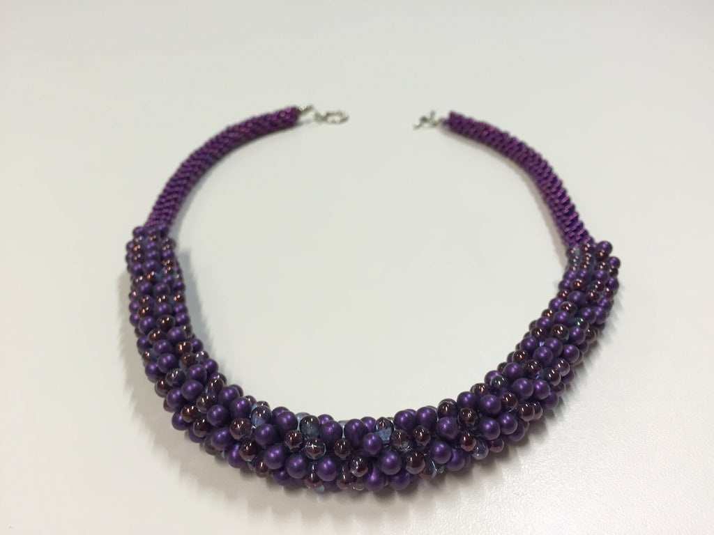 Beautiful silver-clasped necklace - deep purple with azure & merlot highlights