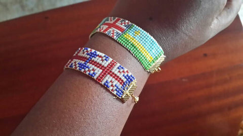 Beaded union flag bracelet