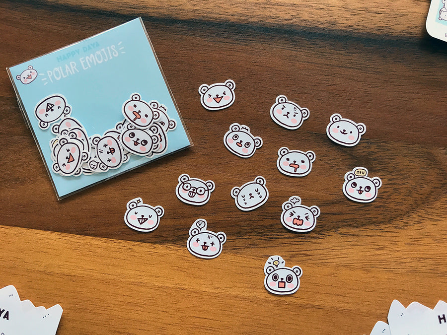 BELL012: Arctic animals - Polar bear emojis flake stickers