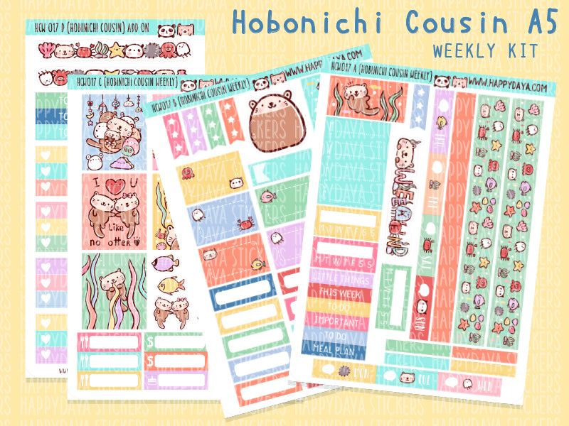 HCW017: Sea otter kit (Hobonichi Cousin A5 weekly kit)