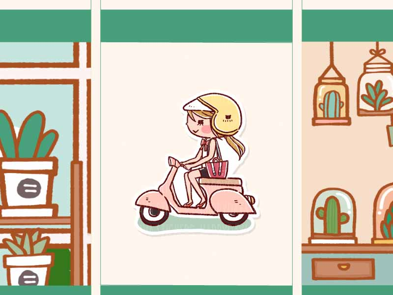 HF151: Girl riding Vespa
