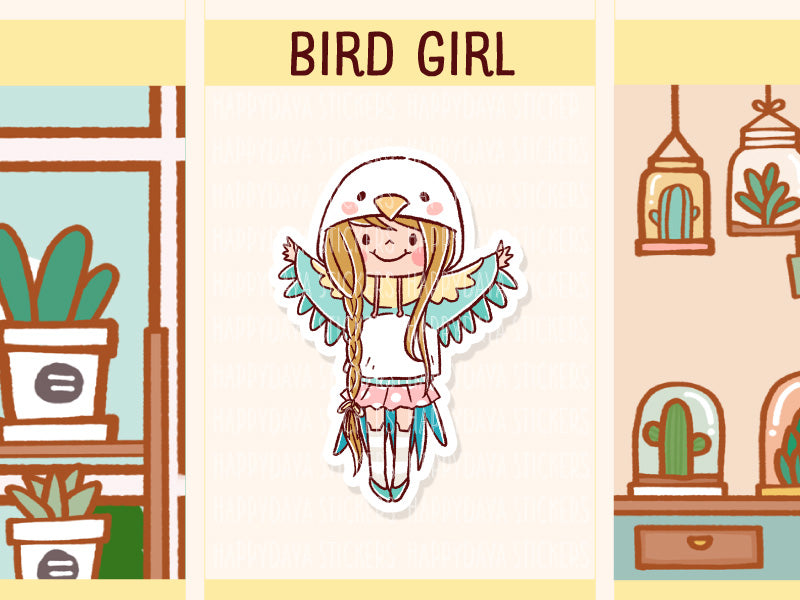 HF154: A girl wearing bird hoodie
