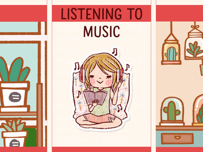 HF155: A girl listening to music wit headphone