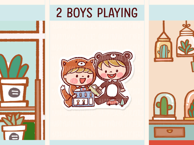 HF164: 2 Baby boys playing toys