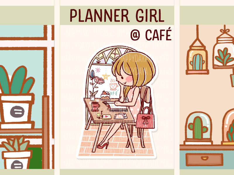 HF171: Planner girl planning at cafe