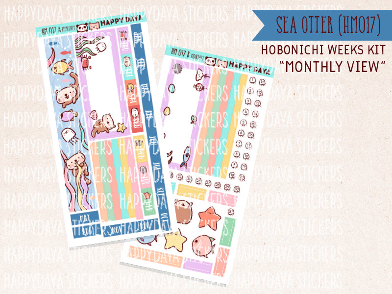 "HM017 - Hobonichi Weeks Monthly view ""Sea otter day"" kit"