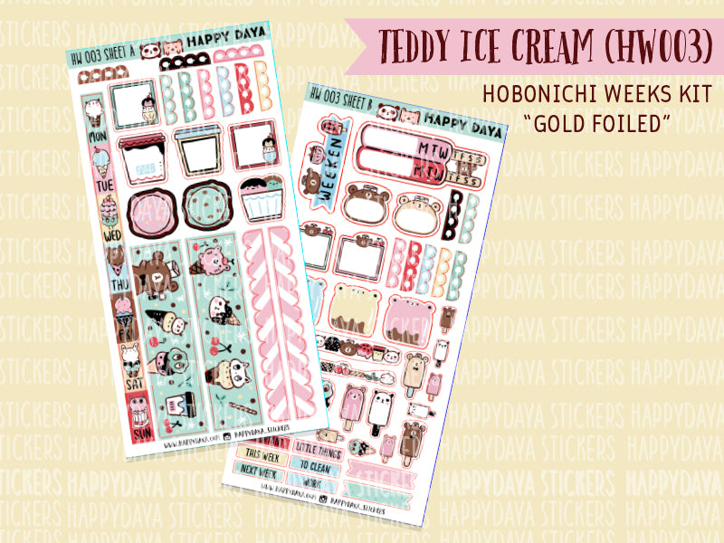 "Hobonichi Weeks ""Teddy icecream"" kit (gold foiled)"