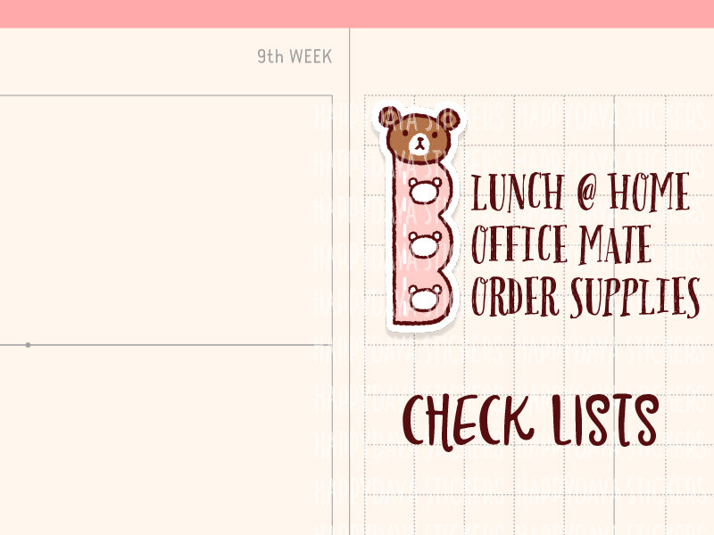 HWF024: Teddy checklists