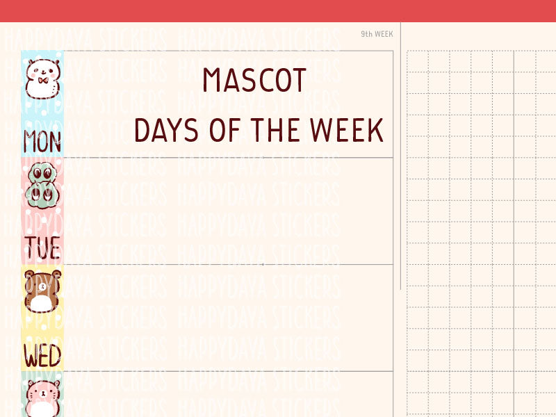 HWF031: Mascots days of the week