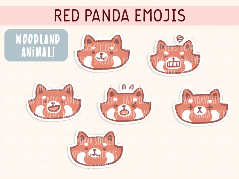 KIT003 (Woodland animals) : Red panda emojis (sheet 6)