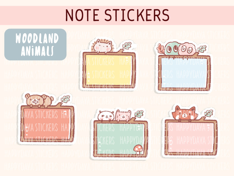 KIT003 (Woodland animals) : Note stickers (sheet 9)