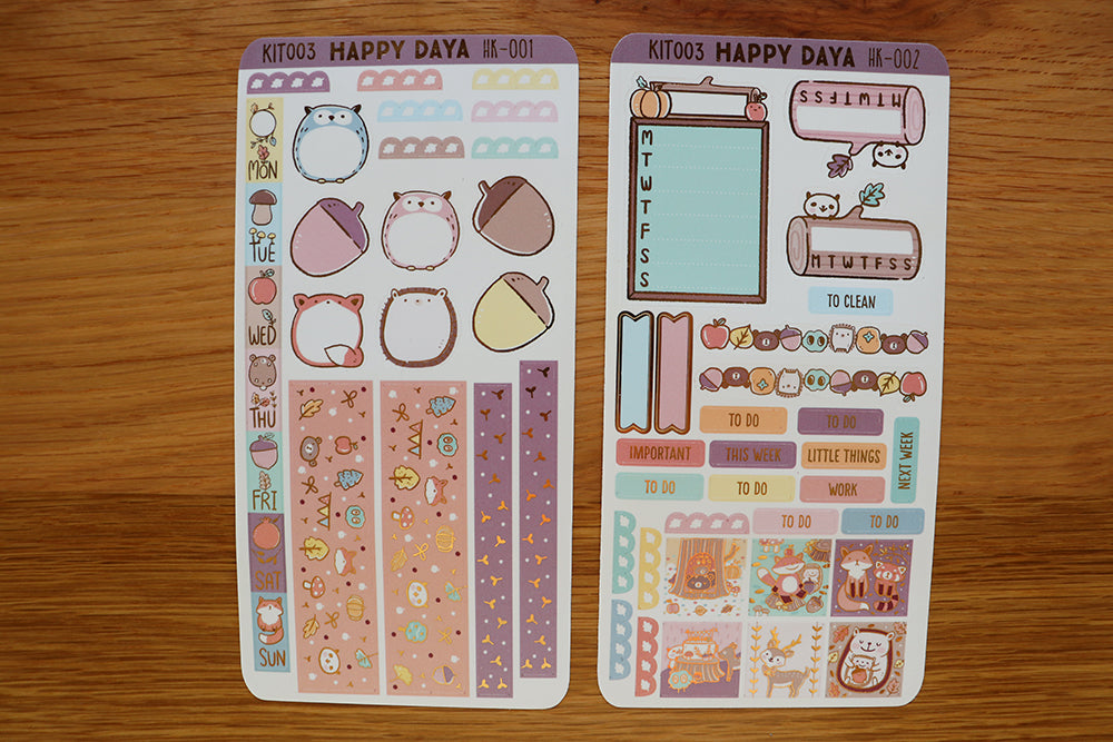KIT003 (Woodland animals) : Hobonichi Weeks kit (foil stickers only)