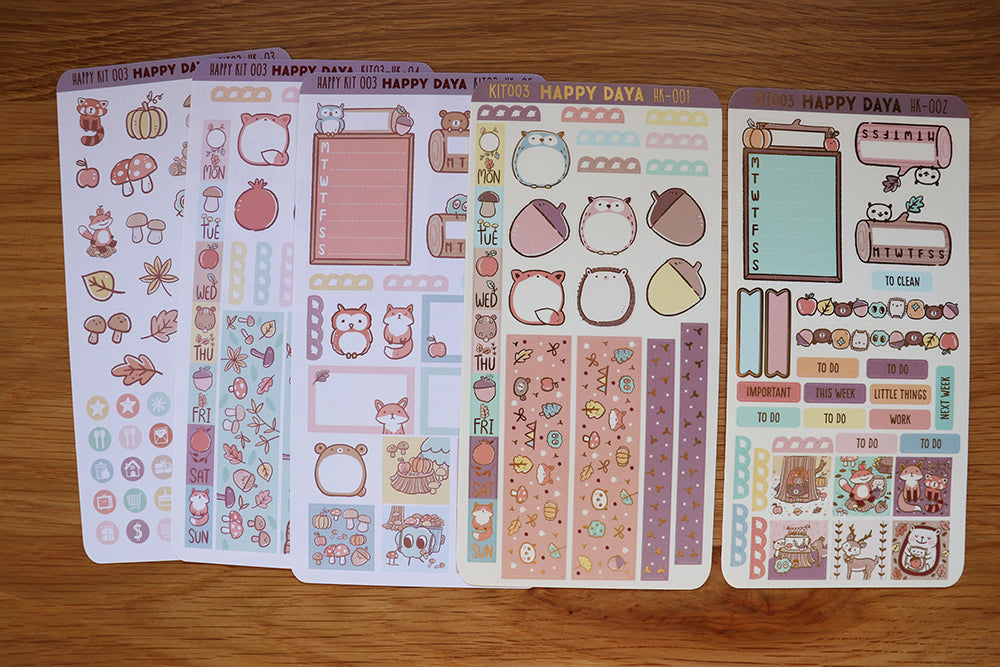 KIT003 (Woodland animals) : Hobonichi Weeks kit