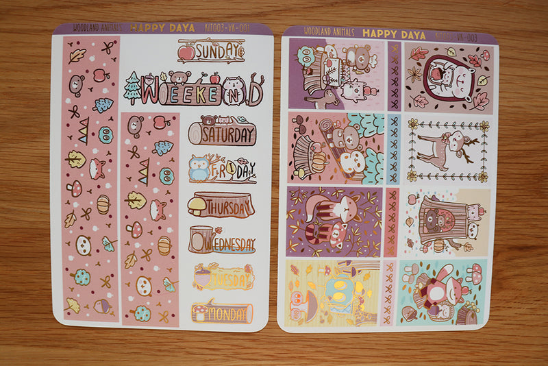 KIT003 (Woodland animals) :Vertical foiled sticker sheets