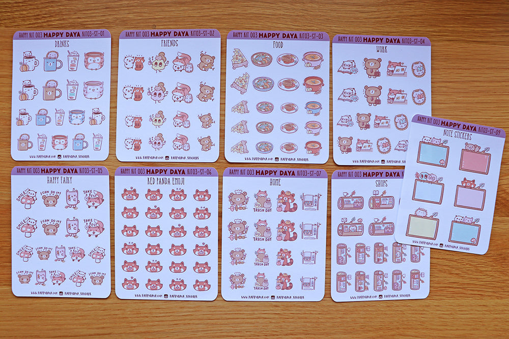 KIT003 (Woodland animals) : Stickers (individual sheets) from sticker kit