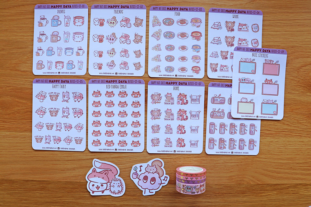 KIT003 (Woodland animals) : Sticker kit (washi tapes included)