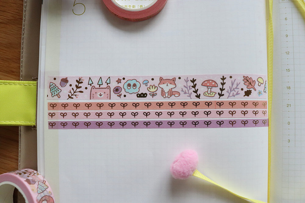 KIT003 (Woodland animals) : Washi tapes set 4 rolls (1-15mm roll and 3-5mm rolls)