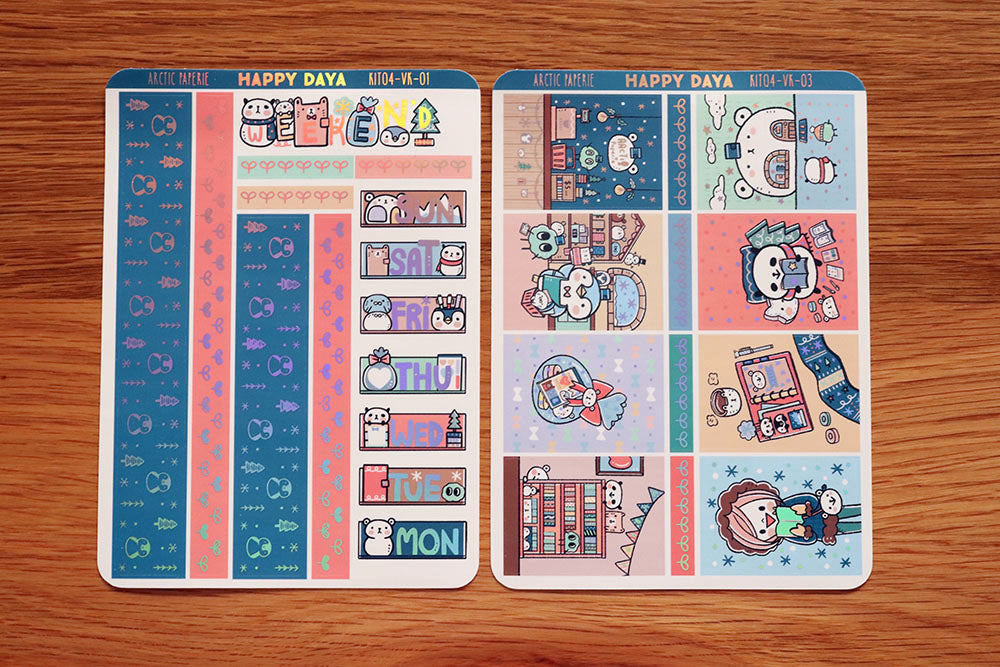 KIT004 (Arctic Paperie) :Vertical foiled sticker sheets