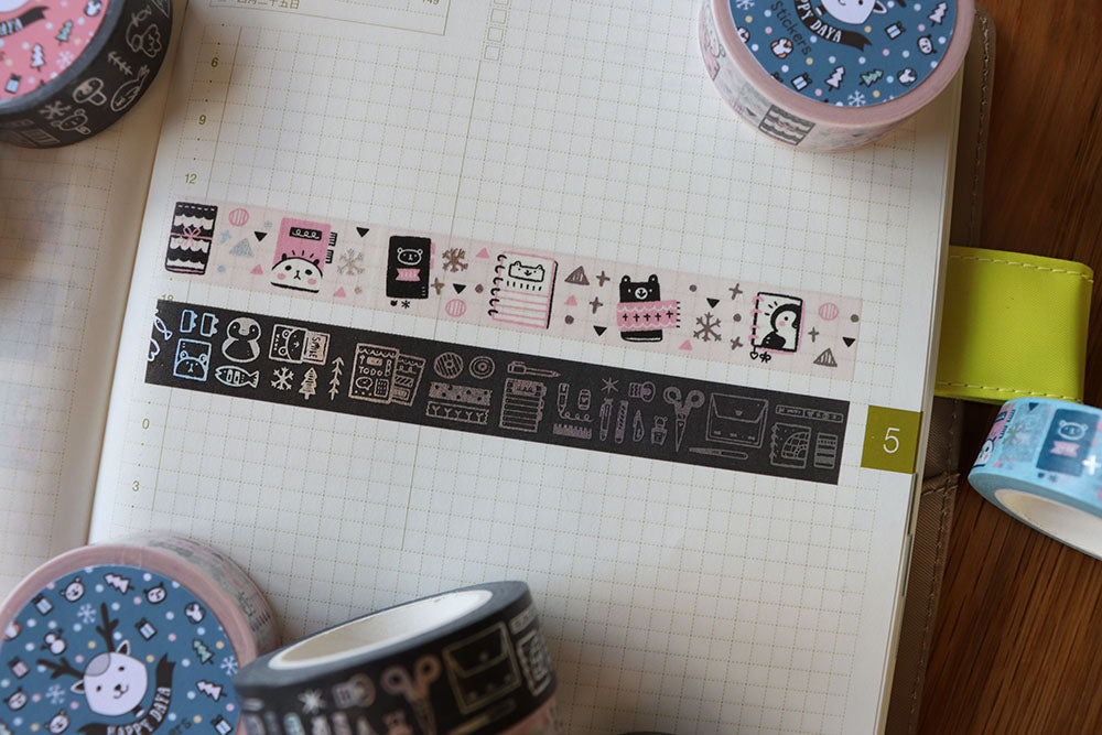 KIT004 (Arctic Paperie) : Washi tapes set 2 rolls