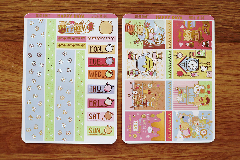 KIT005 (Honey bear) :Vertical foiled sticker sheets