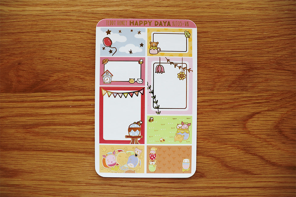 KIT005 (Honey bear) :Vertical foiled half box stickers