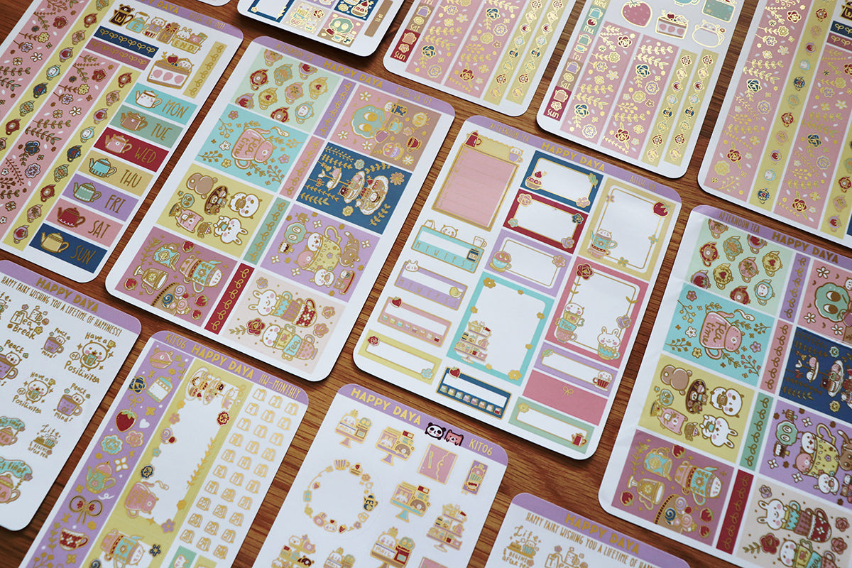 KIT006 (Afternoon tea) :Vertical foiled sticker sheets